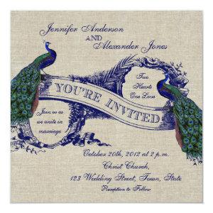 Rustic Wedding Linen Blue Peacocks Invitation 5.25