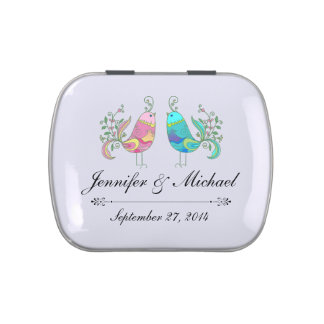 Rustic Wedding Lovebirds Candy Favor Tins Candy Tins