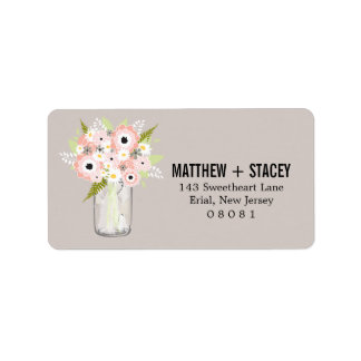Rustic Wedding Mason Jar and Floral Personalized Address Label