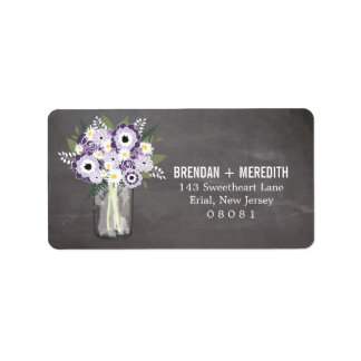Rustic Wedding Mason Jar and Floral Personalized Address Labels