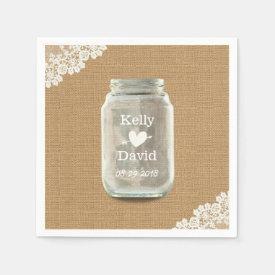 Rustic Wedding Mason Jar Burlap & Lace Napkin