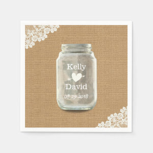 Rustic Wedding Mason Jar Burlap & Lace Napkin