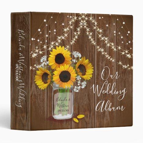 Rustic Wedding Mason Jar Sunflower Babys Breath 3 Ring Binder