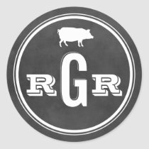 Rustic Wedding Monogram Black Chalkboard BBQ Classic Round Sticker