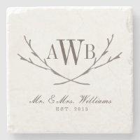Rustic Wedding Monogram Coasters