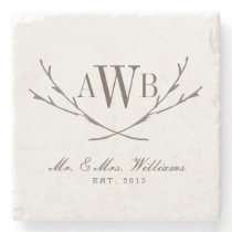 Rustic Wedding Monogram Coasters