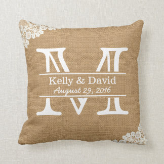 Rustic Wedding Monogram Faux Burlap & Lace Throw Pillow