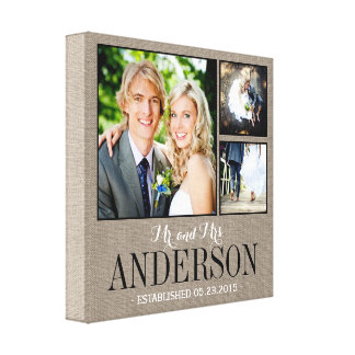 Rustic Wedding Monogram Photo Collage Canvas