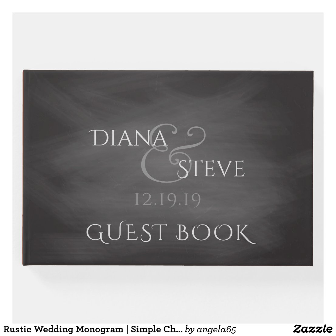 Rustic Wedding Monogram | Simple Chalkboard Guest Book