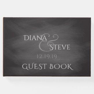 Rustic Wedding Monogram | Simple Chalkboard Guest Book