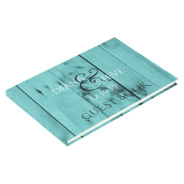 Beach Themed Rustic Wedding Monogram | Turquoise Weathered Wood Guest Book