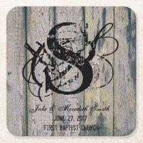 Rustic Wedding Monogram Wood Background Coasters
