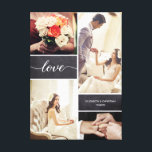 """Rustic Wedding Photo Collage Love script Canvas Print<br><div class=""""desc"""">Customize this photo wrapped canvas with up to four of your favorite wedding shots from the best day ever. The chalkboard background blocks adds a rustic feel and the love script with it's modern handwritten style is elegant and classic. Personalize with your names and special wedding date. A perfect keepsake....</div>"""