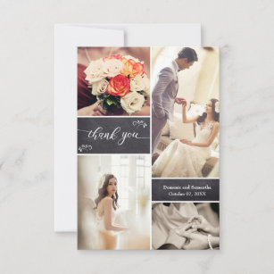 Rustic Wedding Photo Collage On Chalkboard Thank You Card
