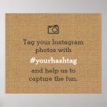 Rustic Wedding Photos Hashtag Burlap Poster