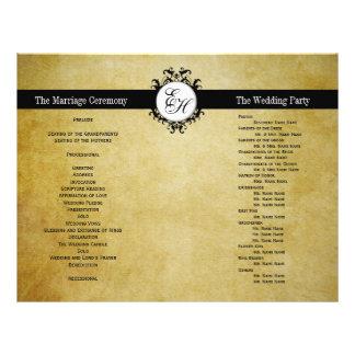 Rustic Wedding Program Vintage Monogram