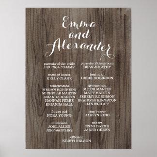 Rustic Wedding Program Wedding Party Sign