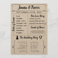Rustic Wedding Program With Icons