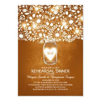 Rustic Wedding Rehearsal & Dinner Mason Jar Invite
