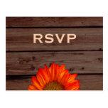 Rustic Wedding RSVP Postcards Sunflower