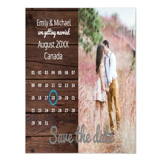 Rustic Wedding Save The Date PHOTO CALENDAR Magnetic Invitation