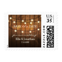 Rustic Wedding Save The Date Postcard Wood Lights Postage