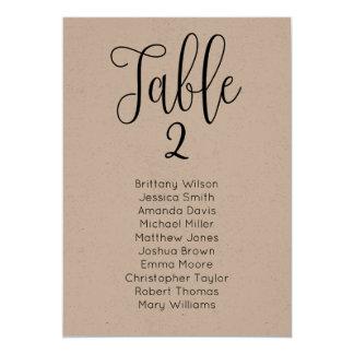Rustic wedding seating chart. Kraft table plan Card
