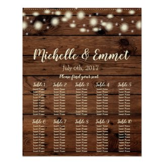 Rustic Wedding Seating Chart, Rustic, Wood, Seat Poster