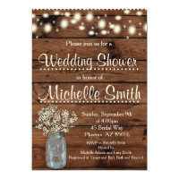 Rustic Wedding Shower Invitation, Mason Jar,Floral Invitation