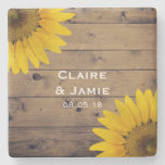 Rustic Wedding Sunflowers Wood Country Monogram Stone Coaster