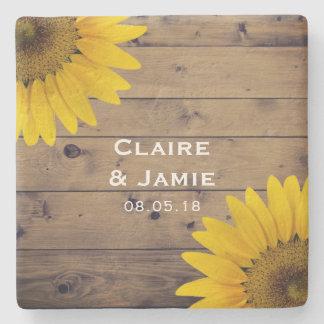 Rustic Wedding Sunflowers Wood Country Monogram Stone Coaster