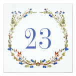 Rustic wedding table number. Country floral wreath Card