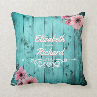 Rustic Wedding Teal Barn Wood Flowers Personalized Throw Pillow
