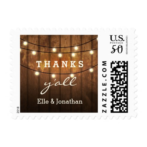Rustic Wedding Thank You Wood String Lights Postage