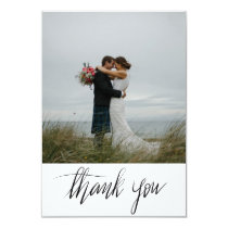 Rustic Wedding Thank You Handwritten Script Photo Invitation