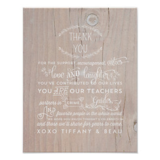 Rustic Wedding Thank You Poster Sign