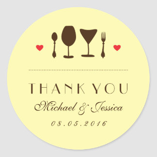 Rustic Wedding Thank You Sticker Fork and Spoon
