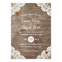 Rustic Wedding Vintage White Lace Ladybugs Invitation