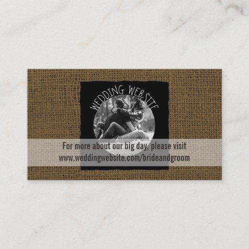 Rustic Wedding Website Card  Burlap Photo
