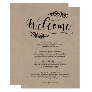 Rustic Wedding Weekend Welcome Itinerary Card