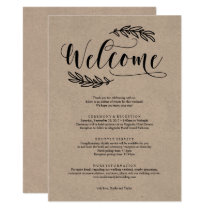 Rustic Wedding Weekend Welcome Itinerary Invitation