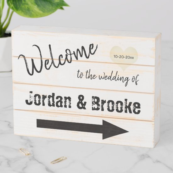 Rustic Wedding Welcome - Farmhouse Style Wooden Box Sign