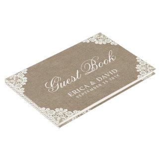 Rustic Wedding White Lace & Burlap Vintage Guest Book