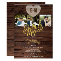 Rustic Wedding with PHOTOS Invitations