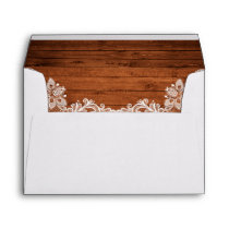 Rustic Wedding Wood and Lace Envelope