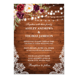 Rustic Wedding Wood Lights Lace Burgundy Floral Invitation