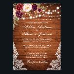 "Rustic Wedding Wood Lights Lace Floral Invite<br><div class=""desc"">Rustic Wood String Lights Lace Burgundy Watercolor Floral Wedding Invitation</div>"
