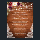 "Rustic Wedding Wood Lights Lace Floral Invite<br><div class=""desc"">Rustic Wood String Lights Lace Burgundy Watercolor Floral Wedding Invitation</div>"