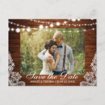 Rustic Wedding Wood Lights Lace Save the Date Announcement Postcard