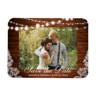 Rustic Wedding Wood Lights Lace Save the Date Magnet